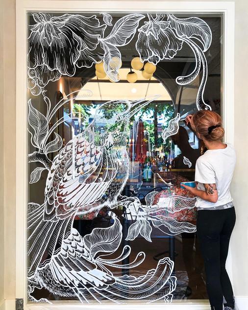 Window Art at Restaurant Luden, The Hague (NL)