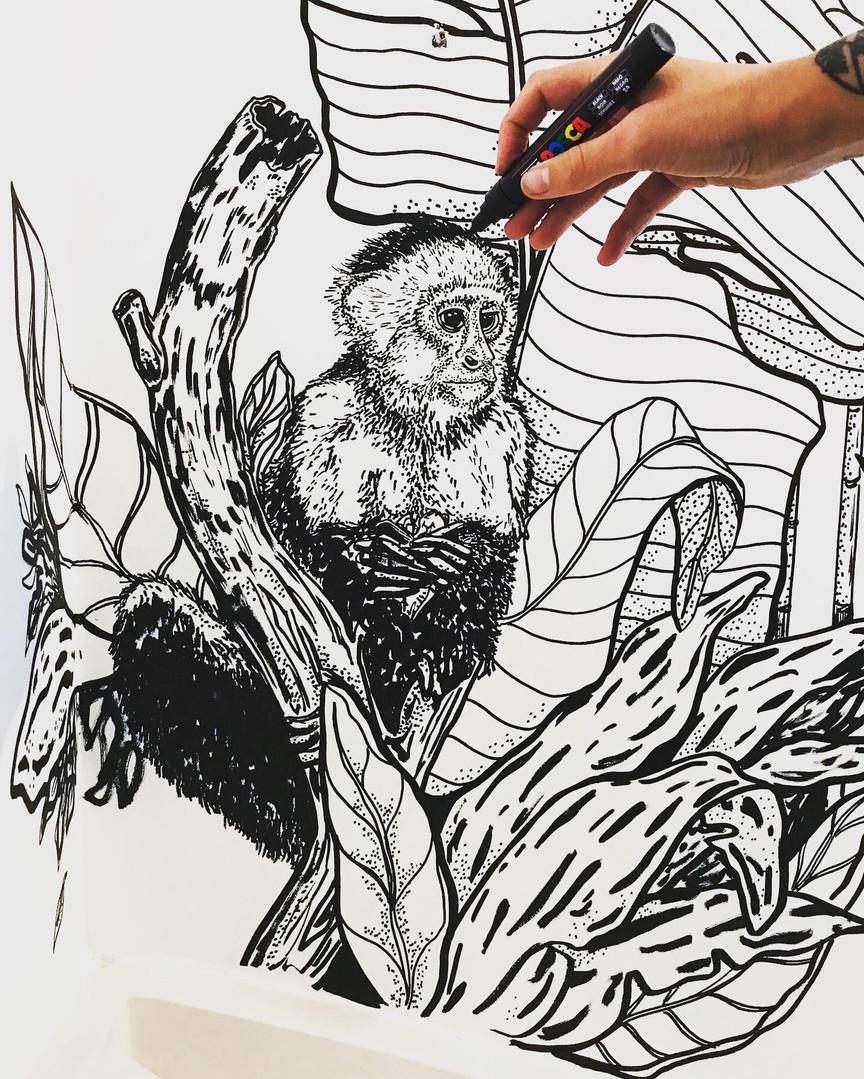 Detail Shot Jungle Themed Mural