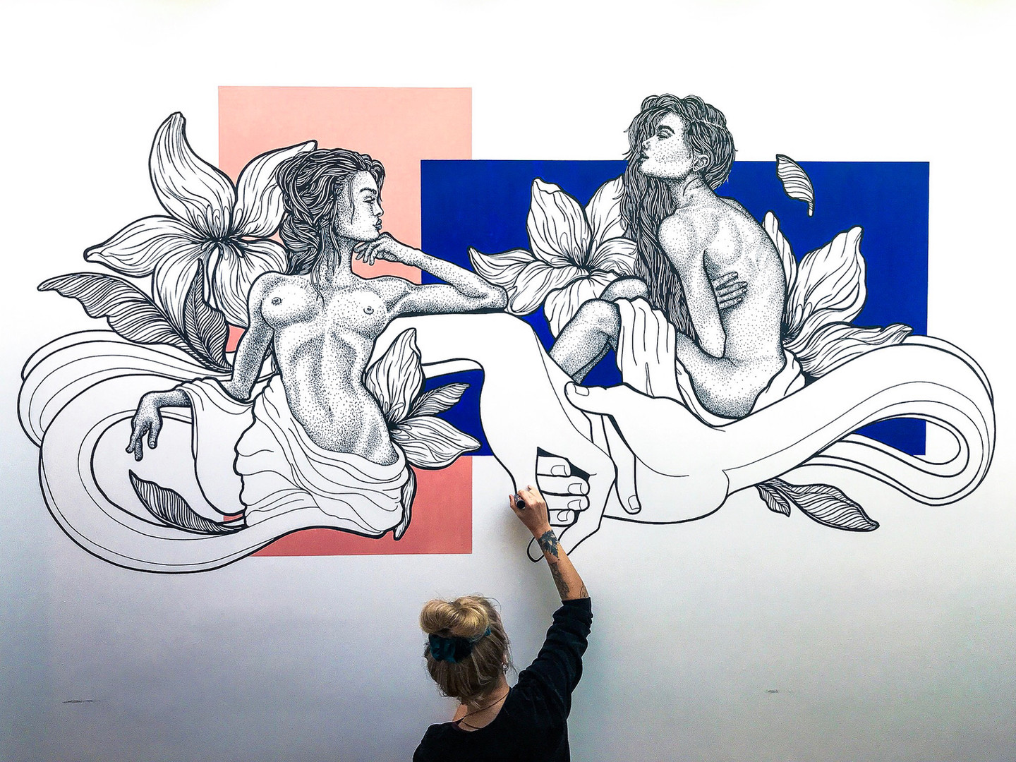 Dotwork Mural with Color Blocks