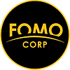 FOMO CORP. logo in black circle with ora