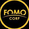FOMO CORP. logo in black circle with ora