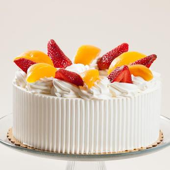 Strawberry Peach Whipped Cream Cake