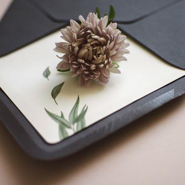 Minimal botanikos kvietimai su žaliais lapeliais