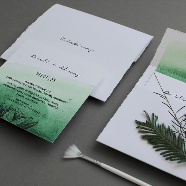 Jaukūs kvietimai su žalia akvarele