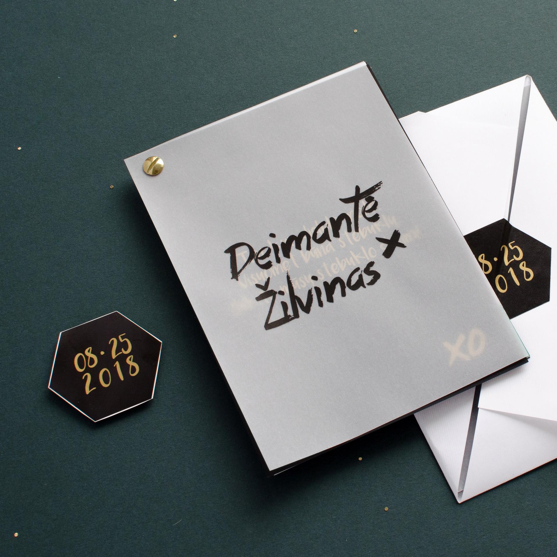 Žaismingas ir modernus kvietimas iš susegamų kortelių