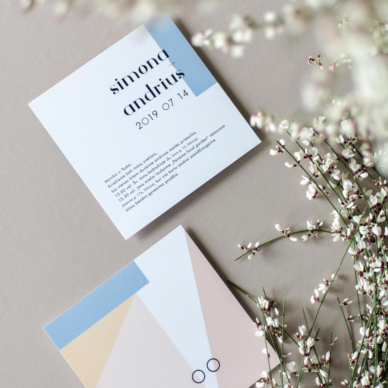 vestuviniai kvietimai geometriniai zaidi