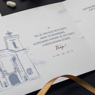 Kvietimai su šventės vietos Norveliškių pilies iliustracija