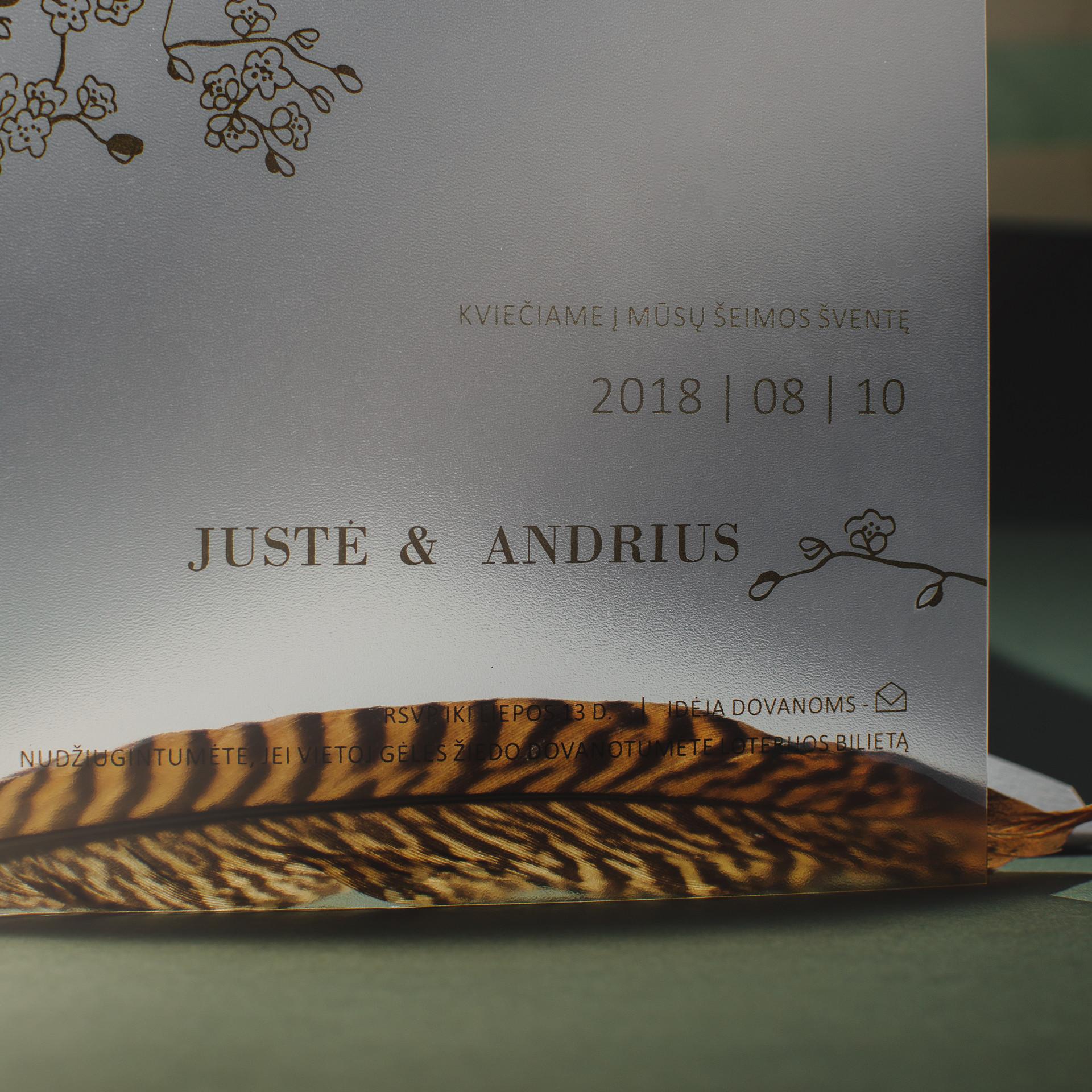 Kvietimas ant skaidrios kortelės