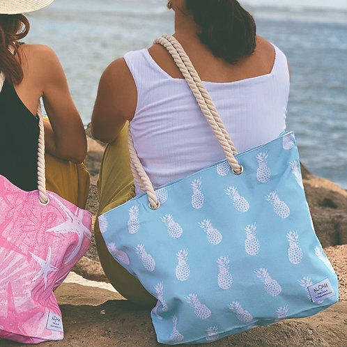 Tote Bag Turquoise Pineapple