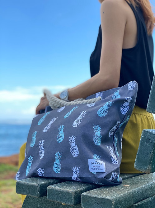 Tote Bag Gray Pineapple