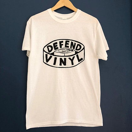 **SOLD OUT ** Defend Vinyl T-shirt (White with black logo)