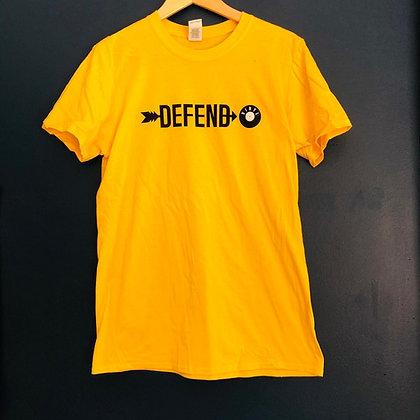 Defend Vinyl T-shirt (Yellow + Black and white logo)