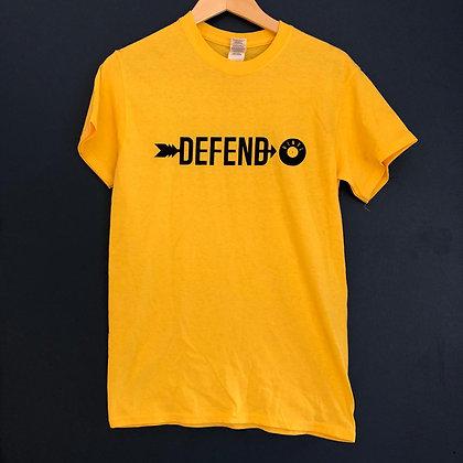 ** SOLD OUT ** Defend Vinyl T-shirt (Yellow + 1 colour logo)