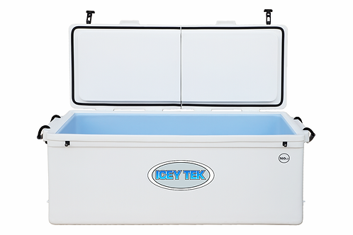 Icey Tek 160L Split Lid Cooler - Right Open - White