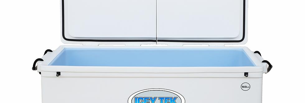 Icey Tek 160L Split Lid Cooler - Left Open - White