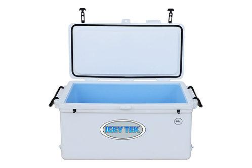 Icey Tek 90L Split Lid Cooler - Left Open - White