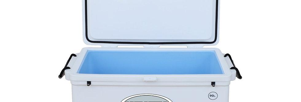 Icey Tek 90L Split Lid Cooler - Right Open - White