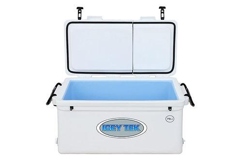 Icey Tek 70L Split Lid Cooler - Right Open - White