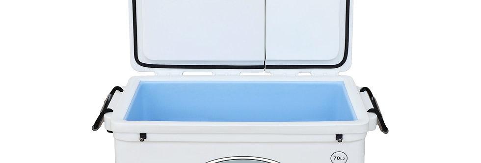 Icey Tek 70L Split Lid Cooler - Left Open - White