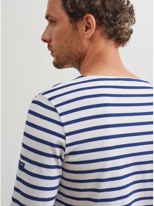Saint James - MINQUIERS MODERNE Authentic Breton Shirt -Neige/Marine