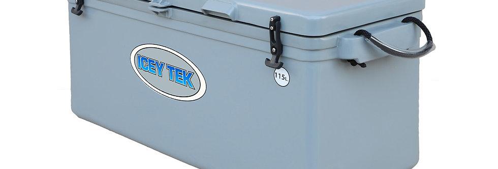 Icey Tek 115L Split Lid Cooler - Right Open - Grey