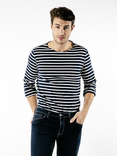 Saint James - MINQUIERS MODERNE Authentic Breton Shirt - Marine/Ecru