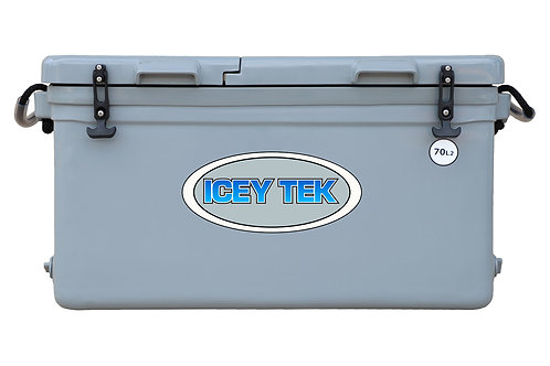 Icey Tek 70L Split Lid Cooler - Right Open - Grey