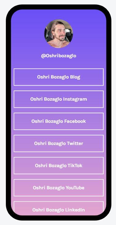 oshri bozaglo, אושרי בוזגלות linktree, instagram, facebook, linkedin, link tree
