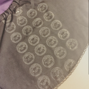 I made the costume in a very short time, so I created a stamp after and stamped it with acrylic. I used the same template by Mad Hatter's Workshop.