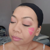 Since the bangs cover the eyebrows, no need to do them! Dust off the excess baking powder.
