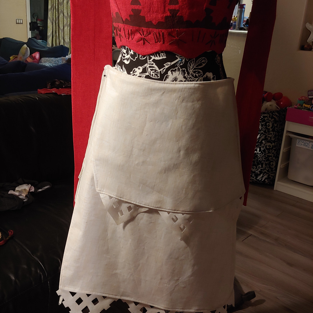 Adding details to the skirt.