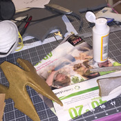 Covering worbla pieces in modge podge.