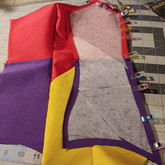 Piecing together the bodysuit. The colorblocking was a bit tricky.