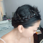 Then I wrap them around my head like a flower crown