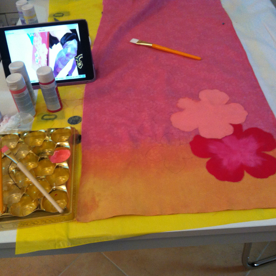 I did the ombre by applying layers of diluted acrylic. It did make the fabric stiff.
