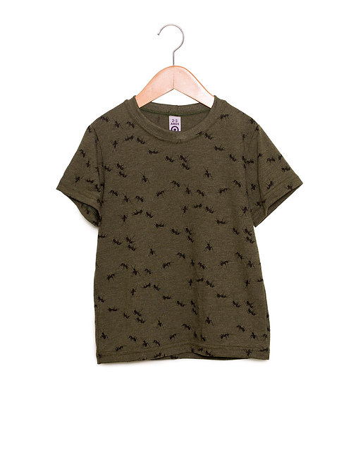 Camiseta Estampa LoK Formigas Verde Exército Frente