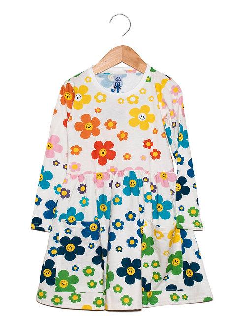 Vestido Manga Longa c/ Bolsos Flower Power LOK Frente