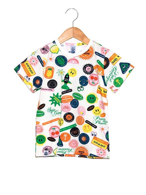 Camiseta Cool Stickers Off-White LOK Frente