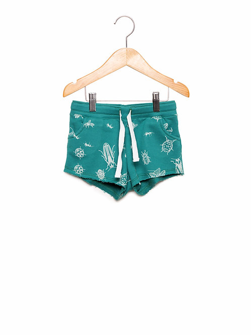 Shorts Estampa LoK Insetos Verde Frente