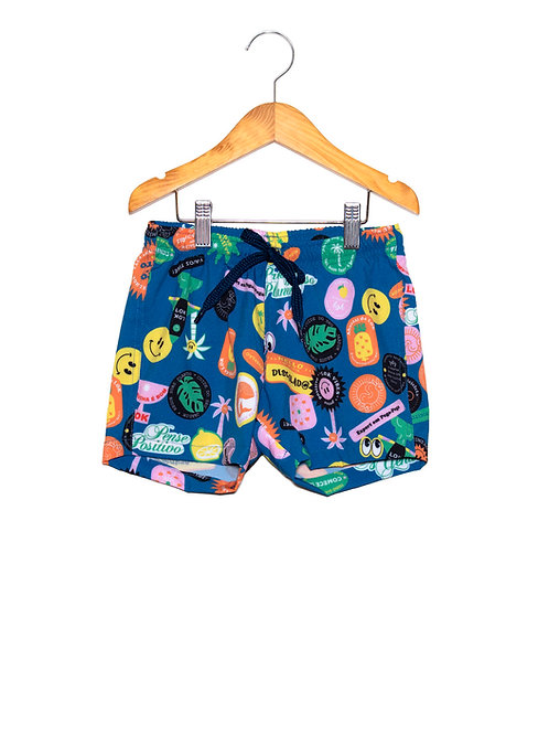 Shorts Praia Cool Stickers LOK Frente