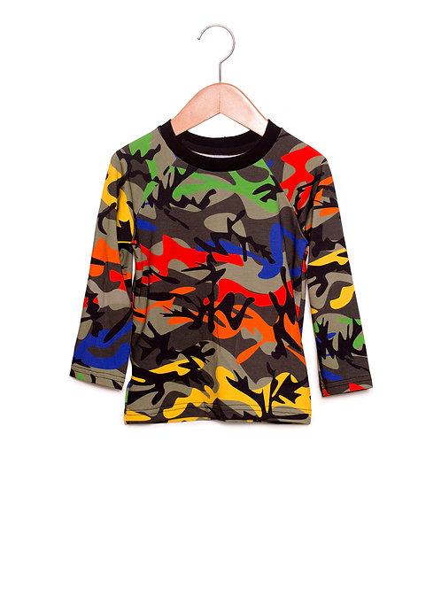 Camiseta Raglan Estampa LoK Camuflado New Frente
