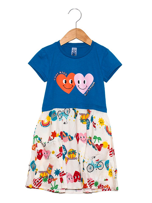 Vestido Bicolor Cool Kids Corações LOK Frente