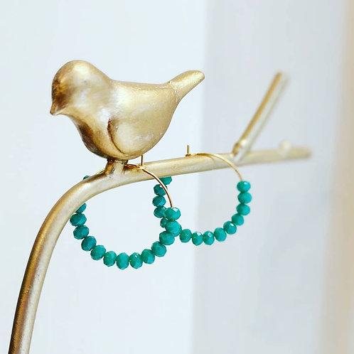 Crystal Beaded Hoop Earrings - green turquoise