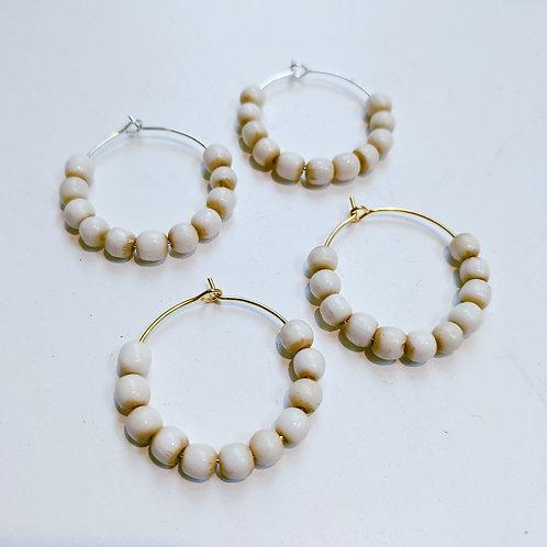 Hoop Earrings - ivory color beads