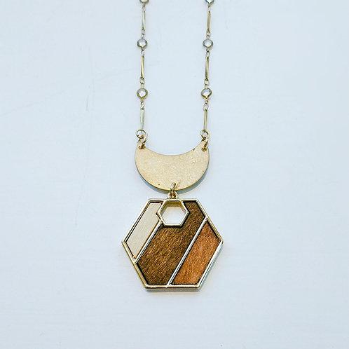 Geometric Wood Pendant Necklace