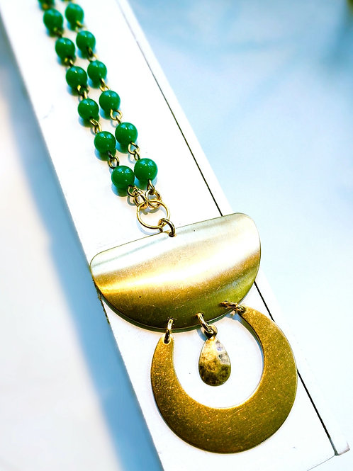 Brass Pendant and Festive Green Bead Necklace