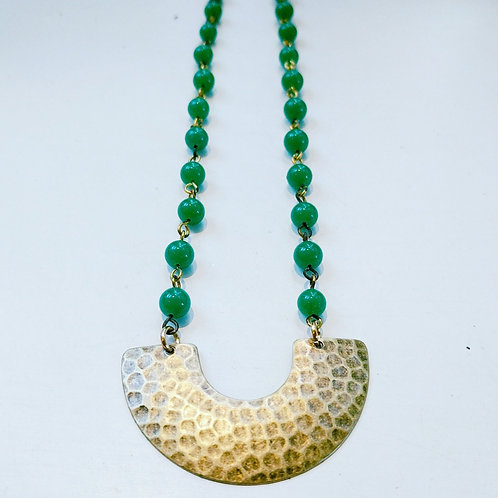 Festive Green Bead Necklace with Brass Pendant