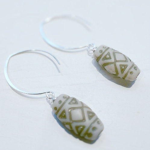 Boho Style Vintage Bead Earrings - Cream with Olive