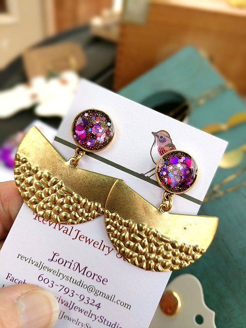 In the Pink Resin and Brass Earrings