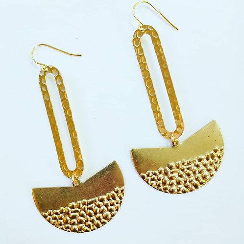 Long brass statement earrings